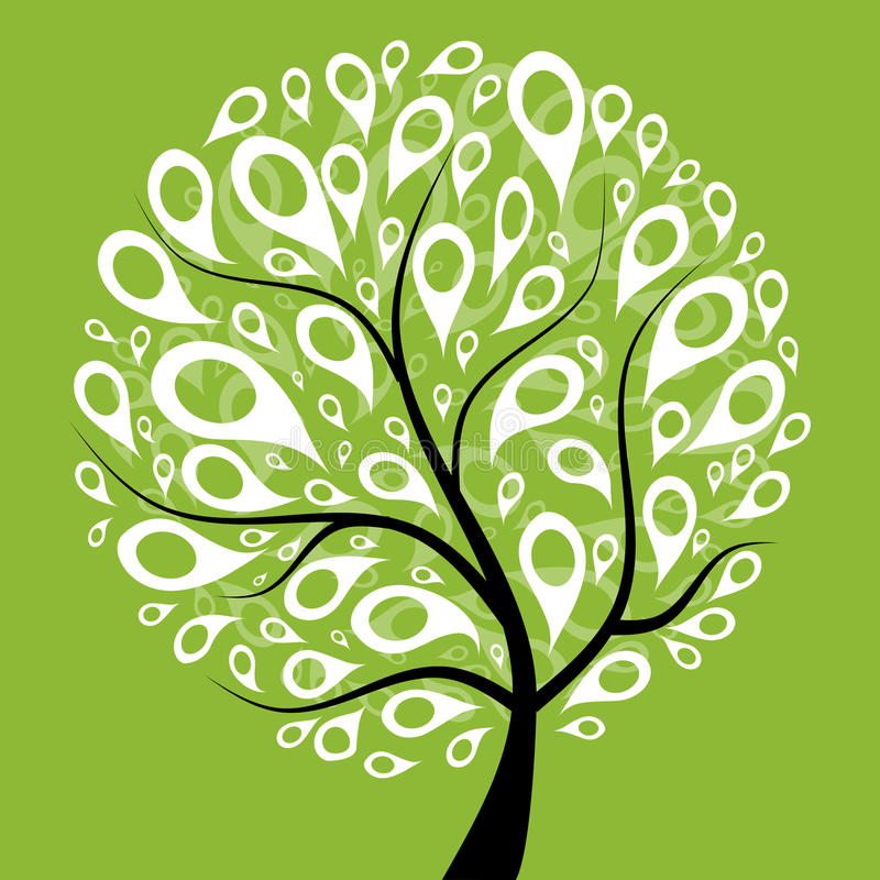 Art tree beautiful for your design royalty free illustration