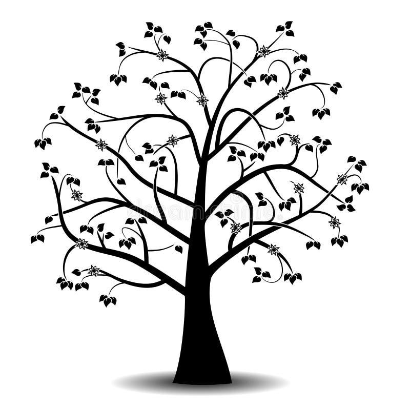 Art tree black silhouette stock illustration