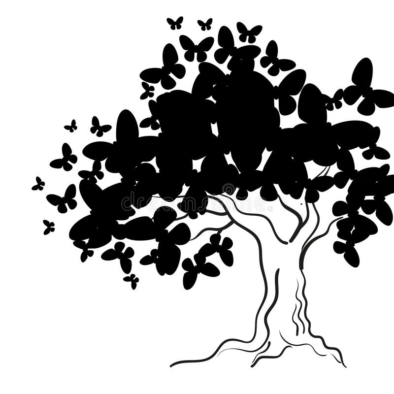 Art tree with butterflies for your design. royalty free illustration