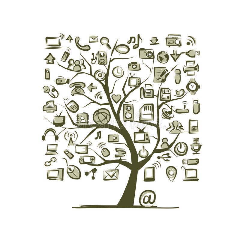 Art Tree With IT Devices For Your Design Stock Photo