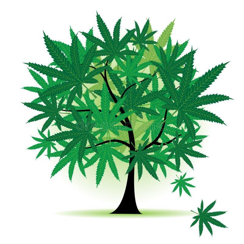 Art tree fantasy, cannabis leaf stock illustration