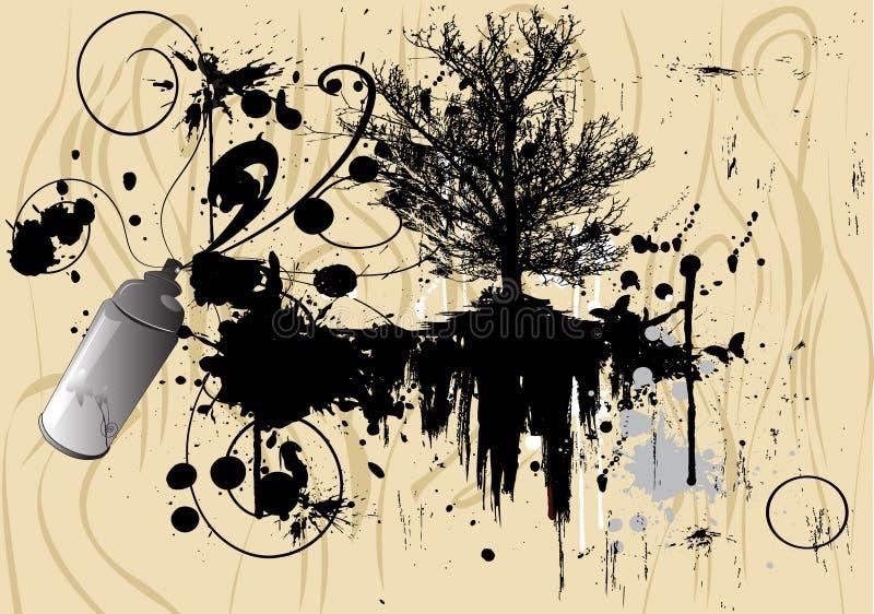 Art tree, grunge background royalty free illustration