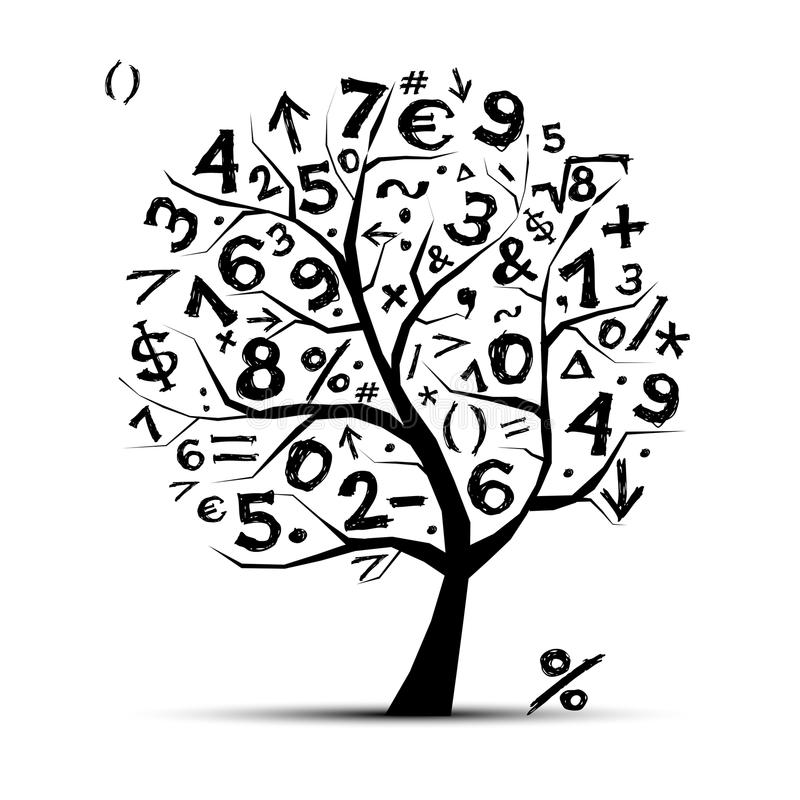 Art tree with math symbols for your design royalty free illustration