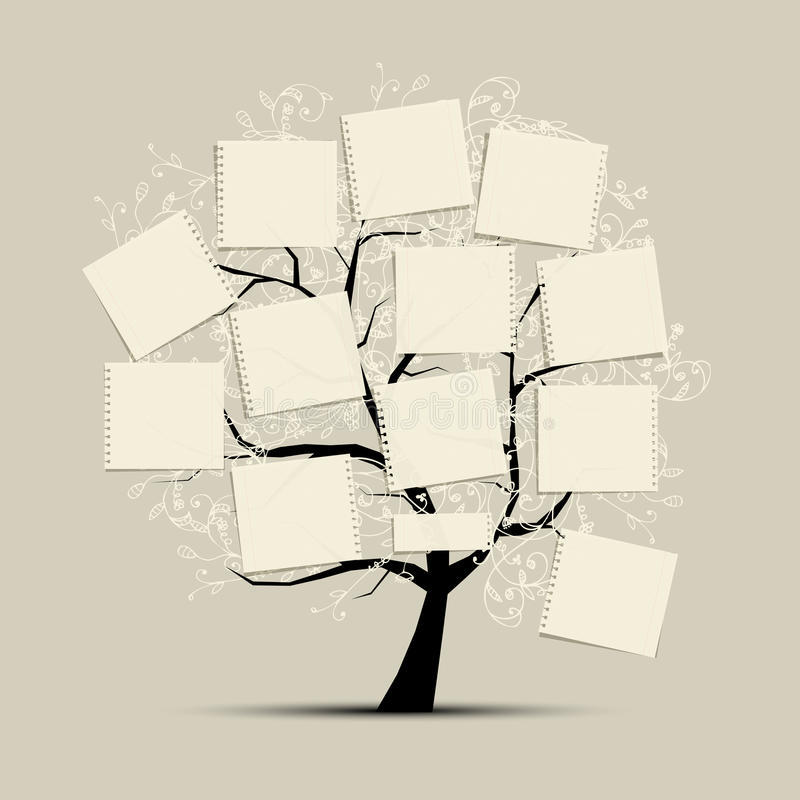 Art tree with papers for your text vector illustration