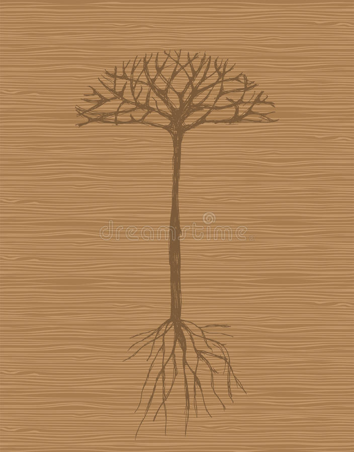 Art tree with roots on wooden background stock illustration