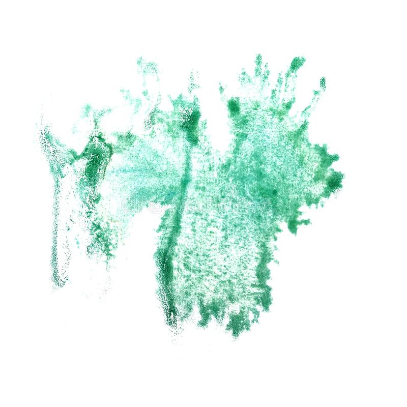 Art The turquoise watercolor ink paint blob watercolour splash c. Olorful stain isolated on white background stock image