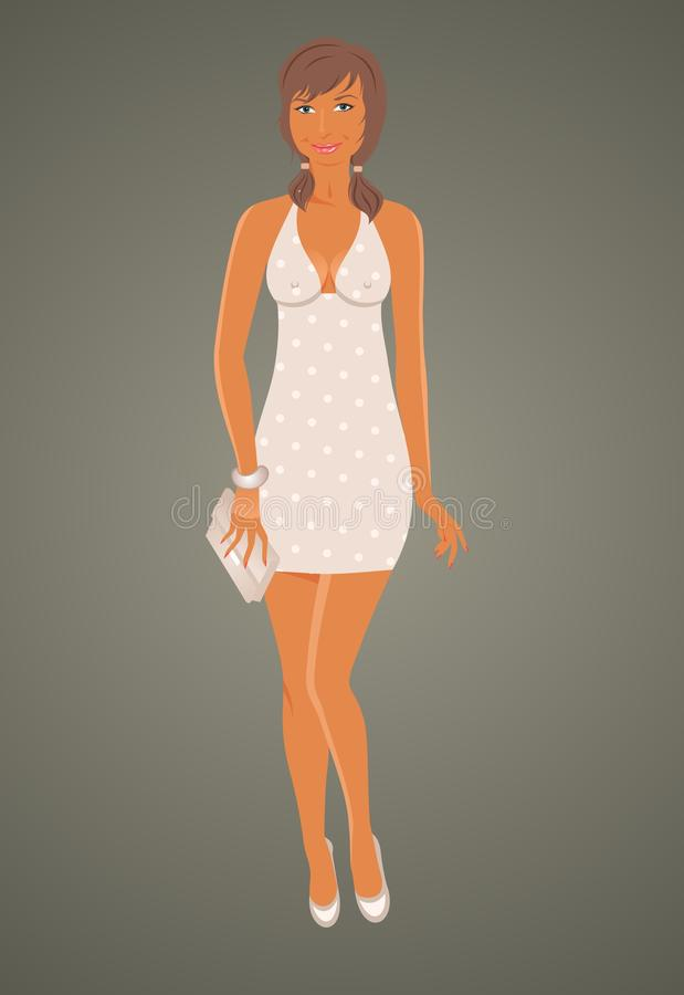 Art und Weise glamor Mädchen im Kleid lizenzfreie abbildung