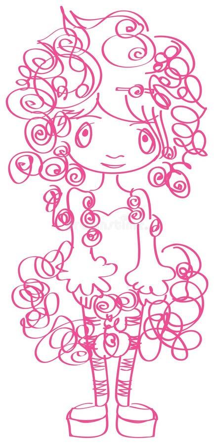Art und Weise-lockig-Mädchen vektor abbildung