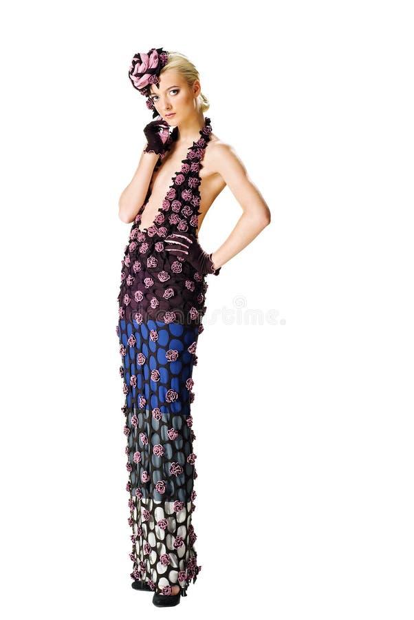 Art und Weisebaumuster in einem stilvollen Kleid lizenzfreies stockfoto