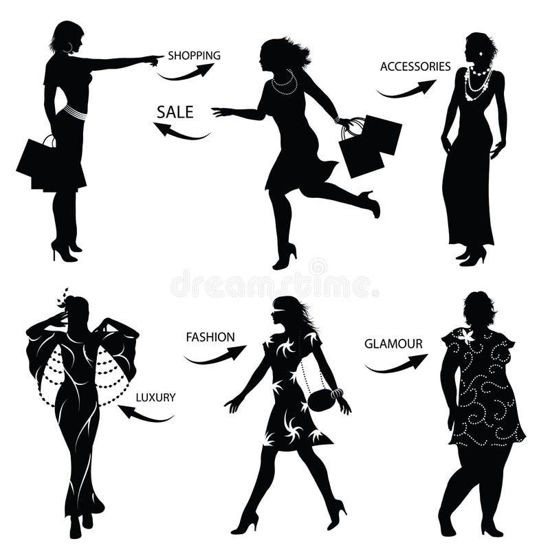 Art und Weiseeinkaufen-Frauenschattenbilder vektor abbildung