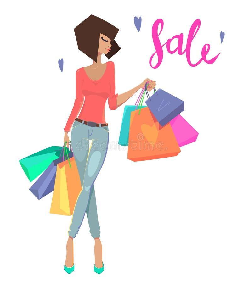 Art und Weisefrau mit Einkaufenbeuteln vektor abbildung