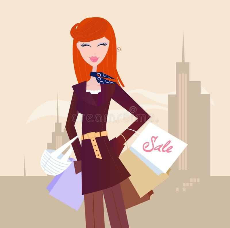 Art und Weisefrau mit Einkaufenbeuteln in der Stadt vektor abbildung