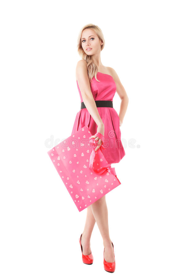 Art und Weisefrau mit Einkaufstasche stockbild