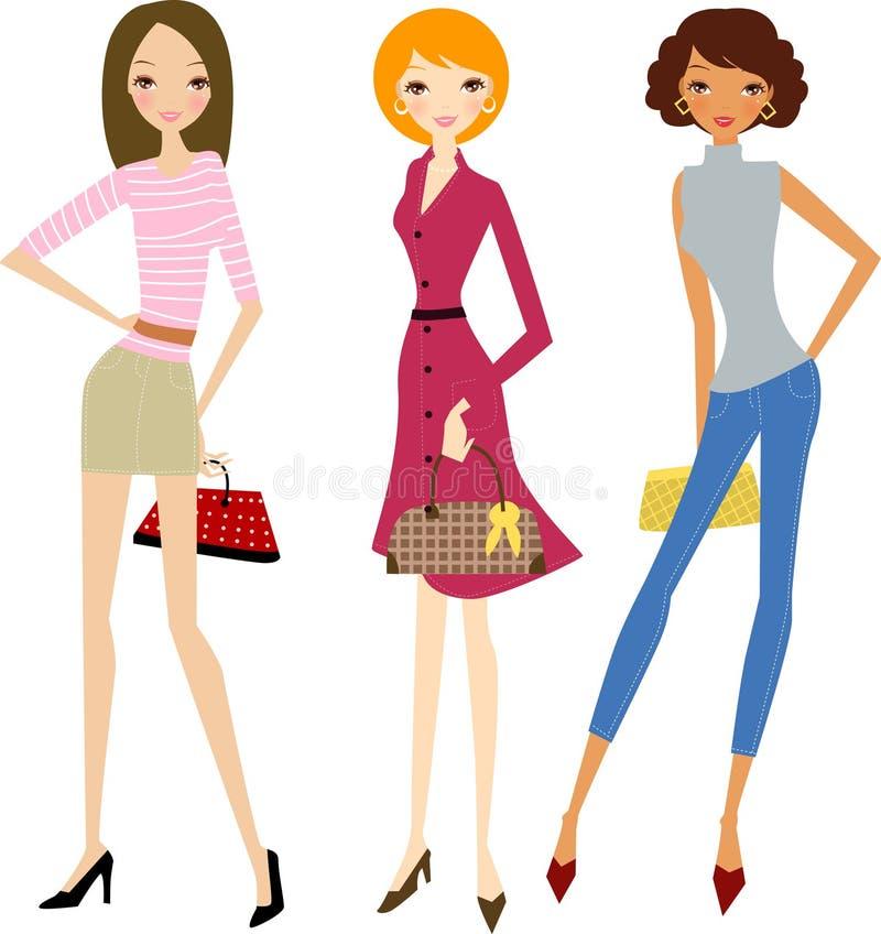 Art und Weisefrauen am Einkaufen stock abbildung