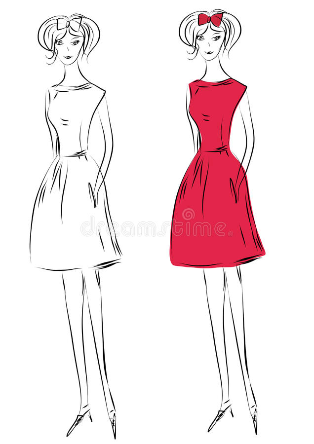Art und Weisemädchen im roten Kleid lizenzfreie abbildung