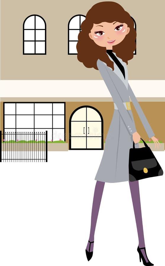Art und Weisemädchen mit Beuteln auf der Straße lizenzfreie abbildung