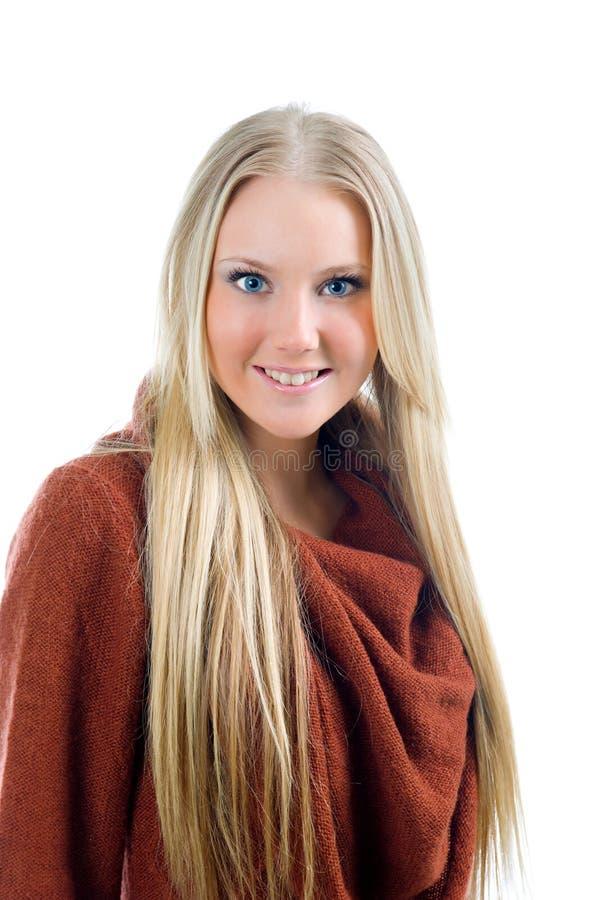 Art und Weiseportrait des schönen blonden Mädchens. lizenzfreies stockfoto