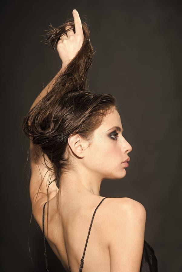 Art und Weiseverfassung Nahaufnahme schöner junger weiblicher vorbildlicher With Fresh Natural-Haut und des Berufsgesichtsmake-up lizenzfreie stockbilder
