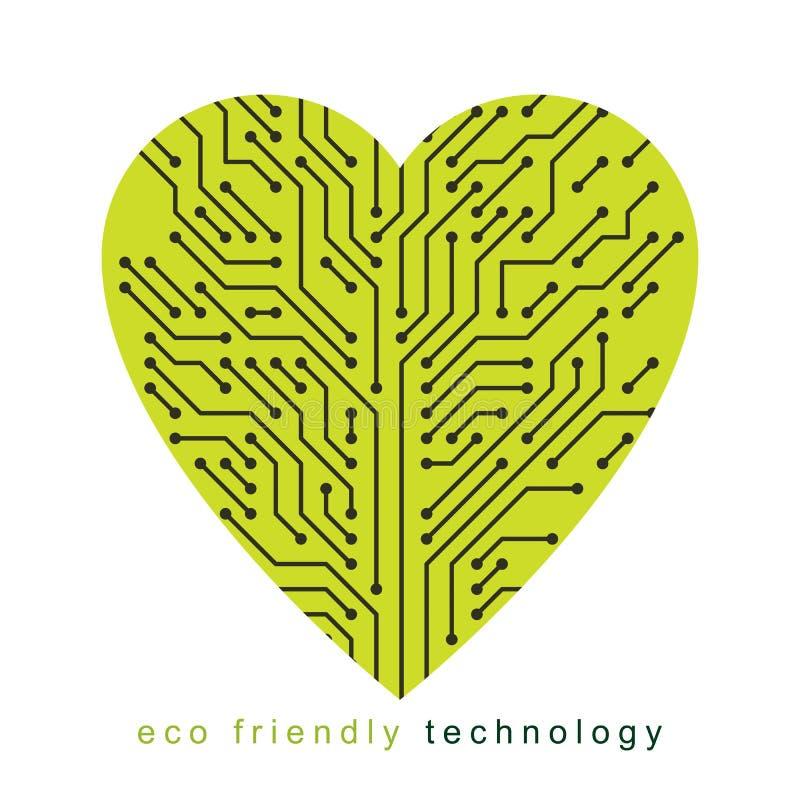 Art vector graphic illustration of modern digital heart, technology innovation abstract design. Alternative energy concept. vector illustration