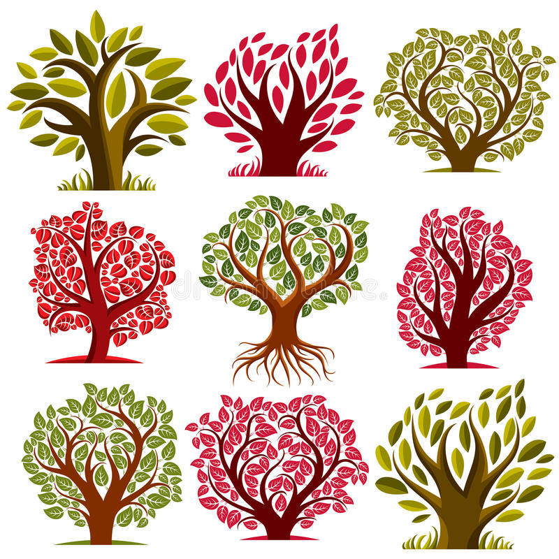 Art vector seasonal trees collection, can be used as design symbol on ecology and nature theme. Gardening theme, botany symbols. royalty free illustration