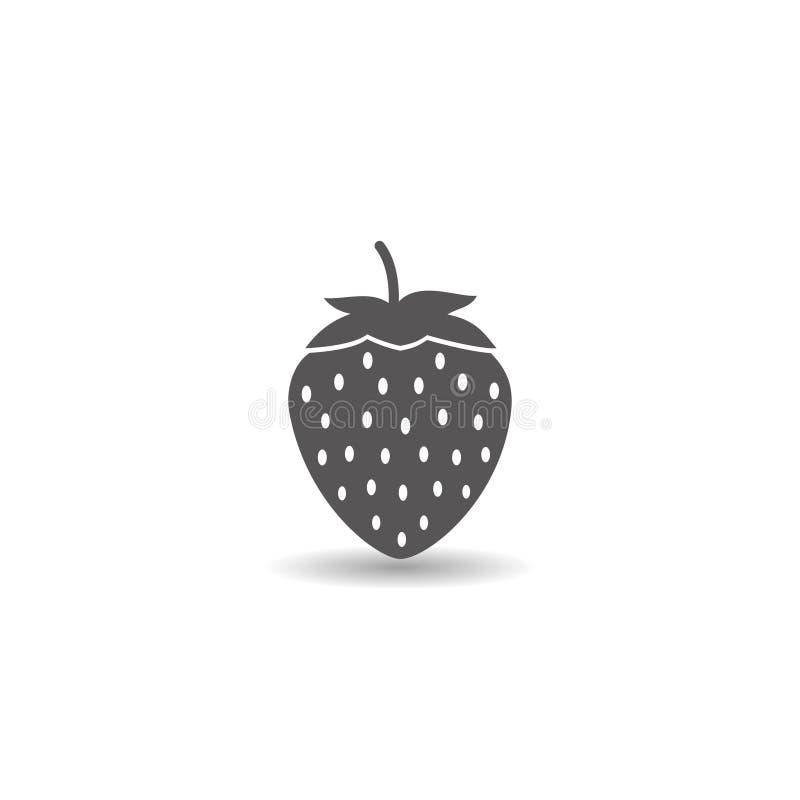 Art-Vektorillustration der Erdbeerfruchtikone einfache flache vektor abbildung