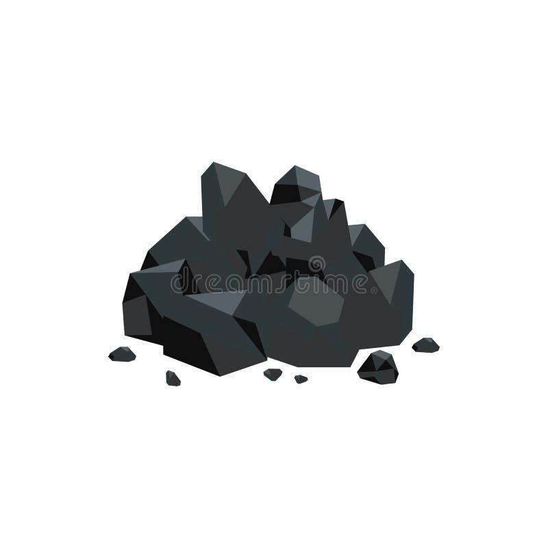 Art-Vektorillustration der schwarzen Kohlensteine flache lokalisiert auf weißem Hintergrund lizenzfreie abbildung
