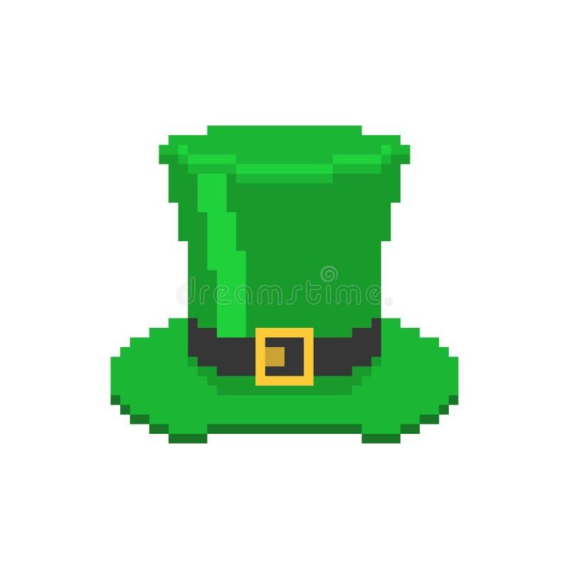 Art vert de pixel de lutin de chapeau Vacances de l'Irlande Jour du ` s de St Patrick Vacances irlandaises traditionnelles illustration de vecteur