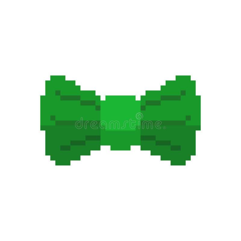 Art vert de pixel de papillon d'arc d'isolement Accessoire de mode d'habillement de lutin du jour de St Patrick illustration de vecteur