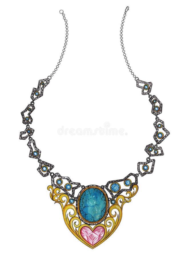 Art Vintage-Juwelen van de mengelings de moderne Halsband stock illustratie