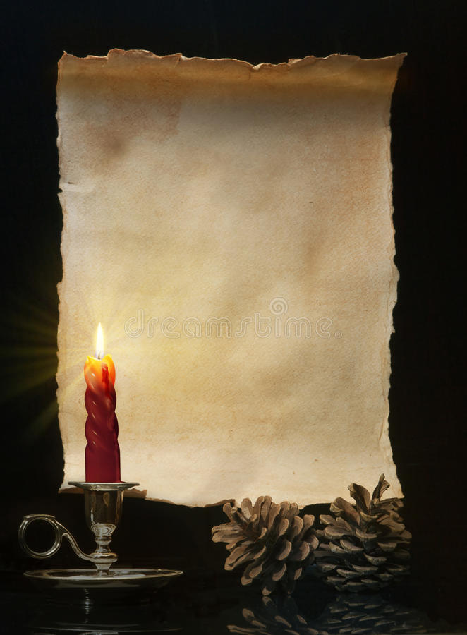 Art Vintage roll lit a candle stock images