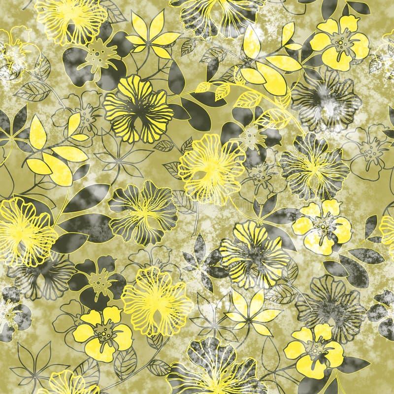 Art vintage stylized flowers colored seamless pattern, grunge ba royalty free illustration