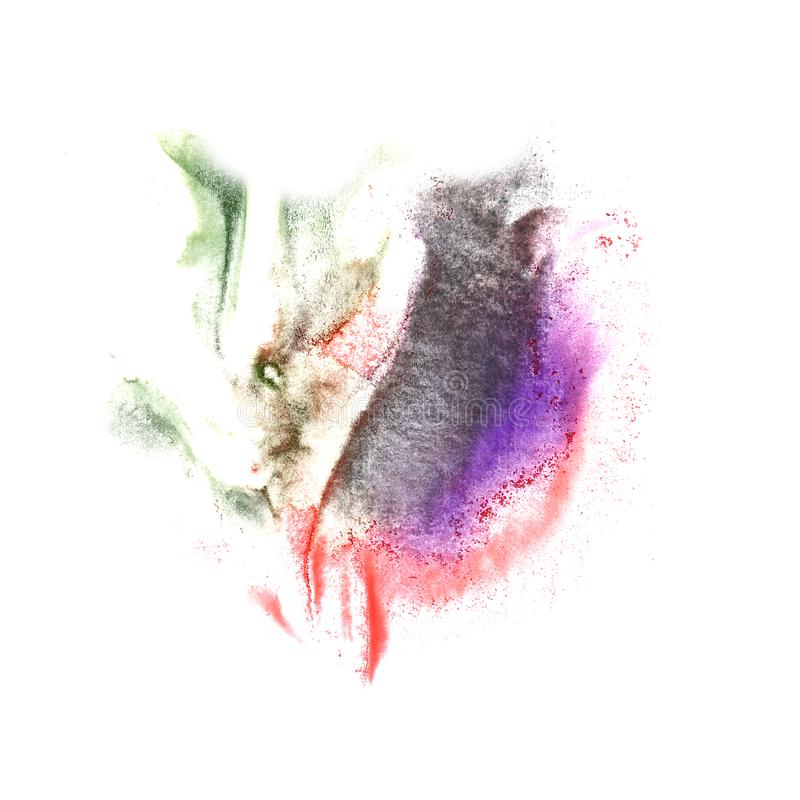 Art Violet, black, green, red watercolor ink paint blob watercol. Our splash colorful stain isolated on white background stock images