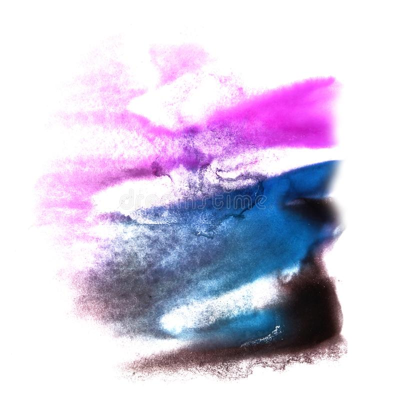 Art Violet, dark blue, green watercolor ink paint blob watercolo. Ur splash colorful stain isolated on white background stock images