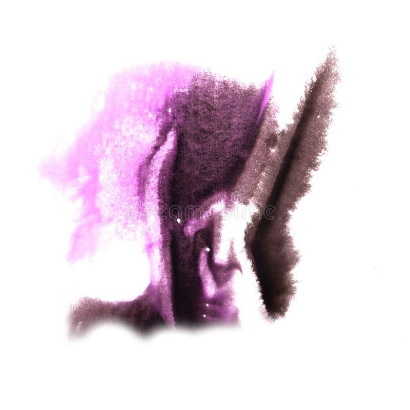 Art Violet, gota negra de la pintura de la tinta de la acuarela ilustración del vector