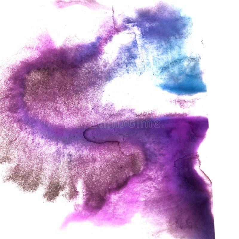 Art Violet mörker - blå spla för akvarell för klick för vattenfärgfärgpulvermålarfärg royaltyfri foto