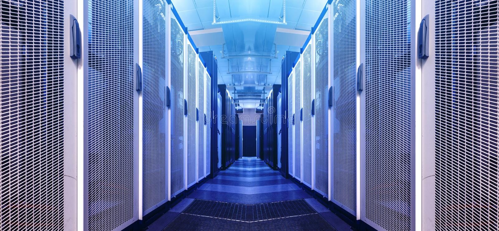 Art visualization corridor of data warehouse in warning red toning. Design web hosting technology big data center background. Network server room with parallel stock photo
