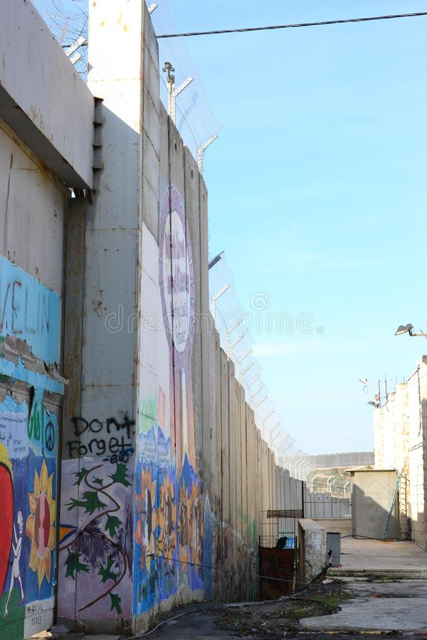 Art and writings on the wall in Bethlehem, between Palestine Westbank and Israel. Art on the wall in Bethlehem, between Palestine Westbank and Israel royalty free stock images