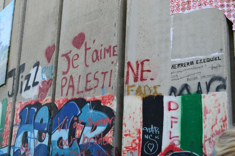 Je t`aime Palestine. Art and writings on the wall in Bethlehem, between Palestine Westbank and Israel. Art on the wall in Bethlehem, between Palestine Westbank stock photography