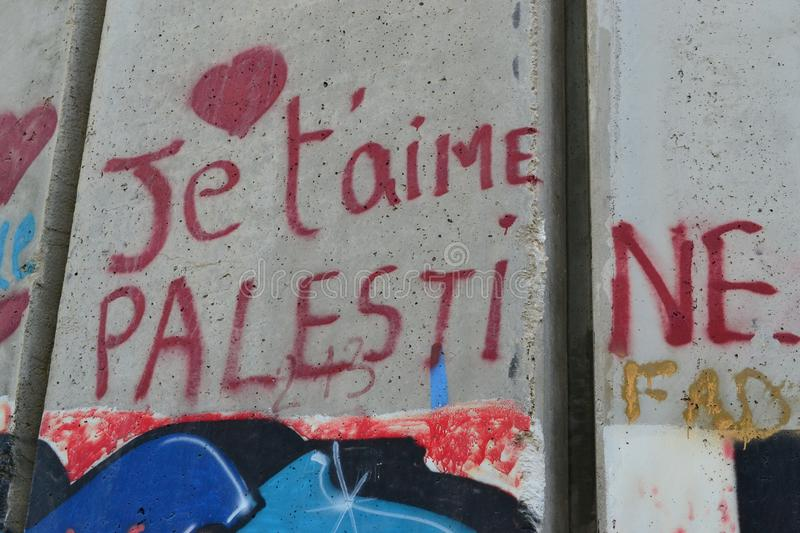 Je t`aime Palestine. Art and writings on the wall in Bethlehem, between Palestine Westbank and Israel. Art on the wall in Bethlehem, between Palestine Westbank stock images
