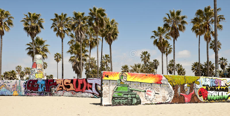 Art walls on Venice beach, Los Angeles stock image
