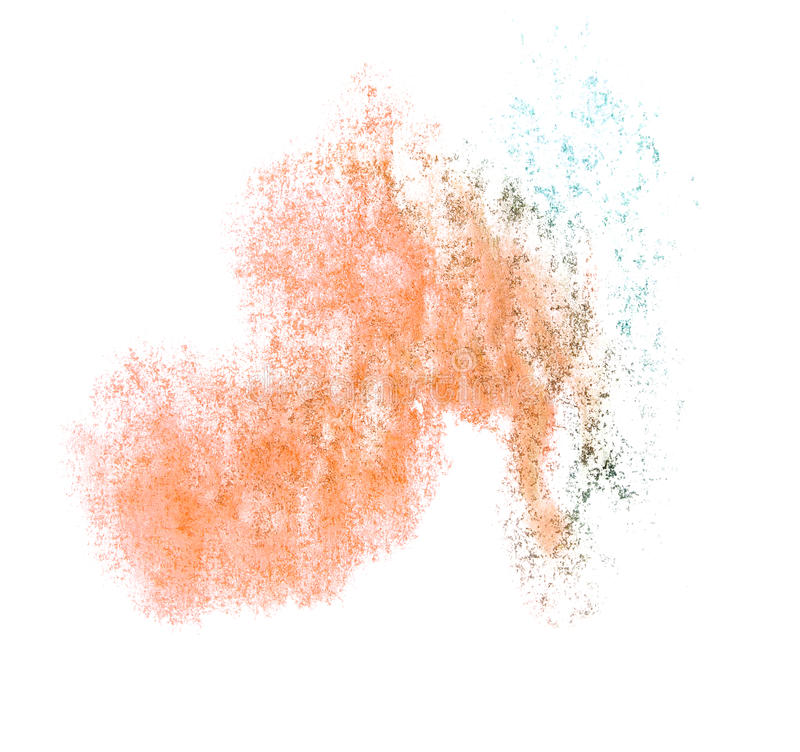 Art watercolor brown, blue ink paint blob. Watercolour splash colorful stain isolated on white background texture stock photos