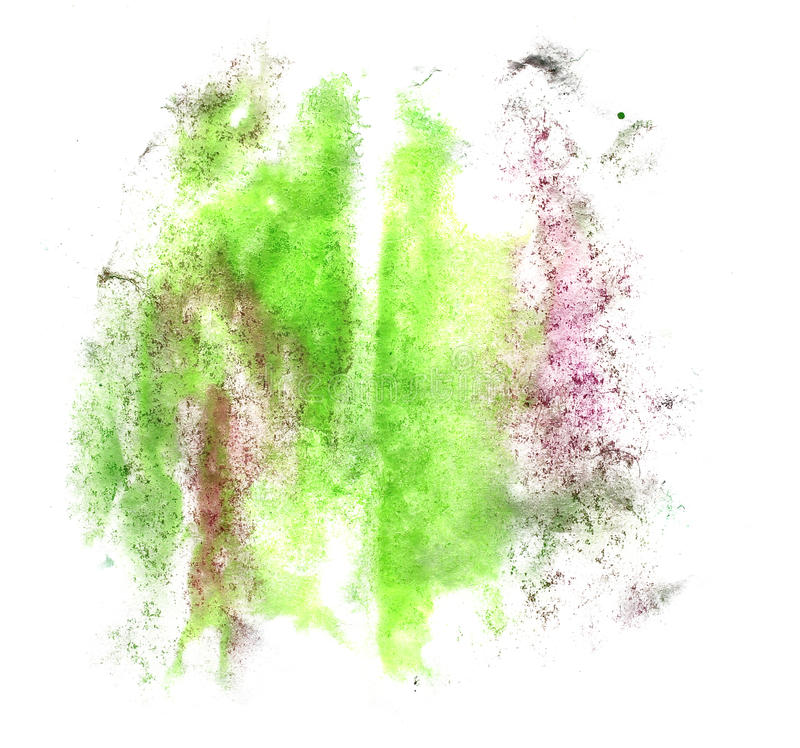 Art watercolor ink paint blob green watercolour. Splash colorful stain isolated on white background texture royalty free stock photos