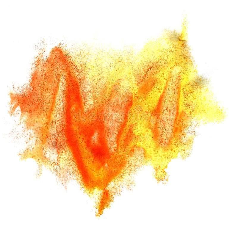 Art watercolor ink paint blob orange yellow. Watercolour splash colorful stain isolated on white background texture royalty free stock image