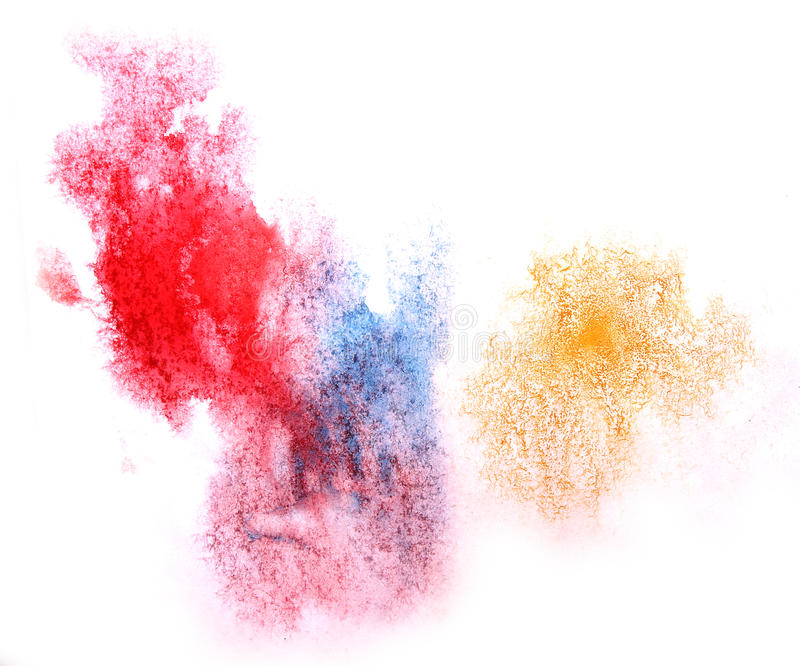 Art watercolor ink paint blob watercolour splash. Colorful red, blue, yellow stain isolated on white background texture royalty free stock images