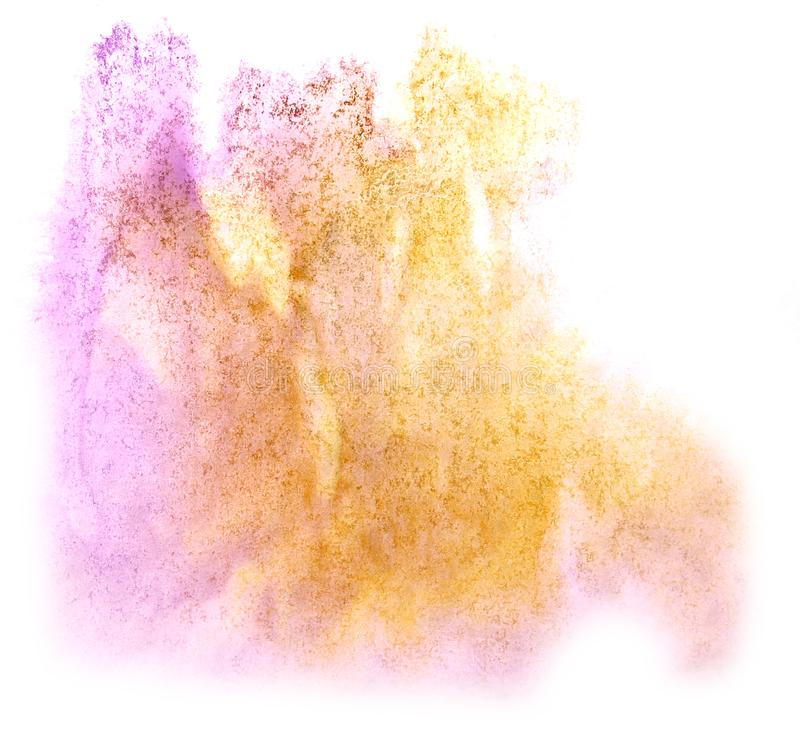 Art watercolor ink paint blob watercolour splash colorful stain. Purple, orange isolated on white background texture stock photography
