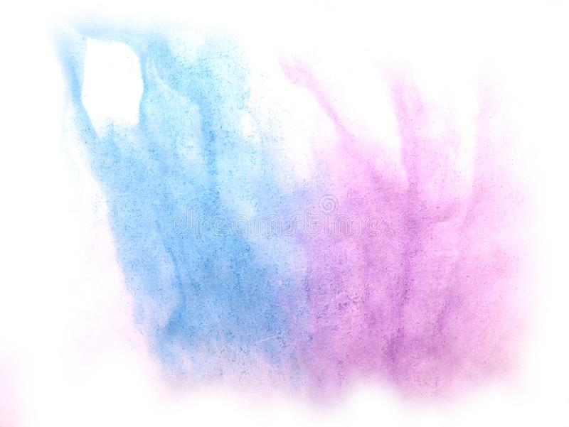 Art watercolor ink paint blob watercolour splash colorful stain. Blue, purple isolated on white background texture royalty free stock photo