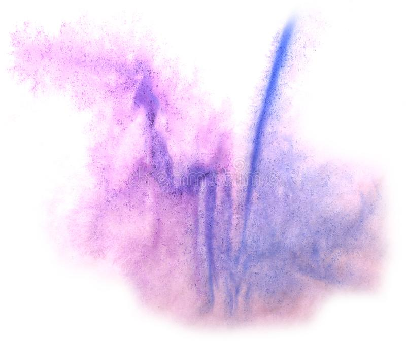 Art watercolor ink paint blob watercolour splash colorful stain. Purple, blue isolated on white background texture stock photos