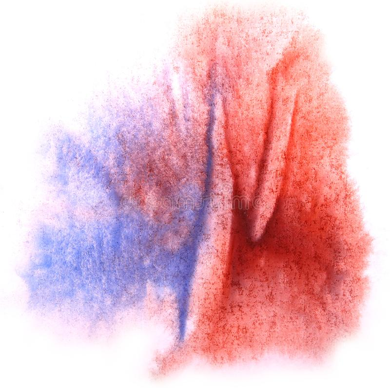 Art watercolor ink paint blob watercolour splash colorful stain. Blue, red isolated on white background texture stock photo