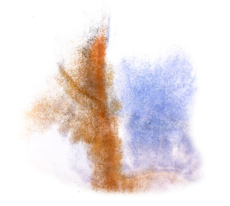 Art watercolor ink paint blob watercolour splash colorful stain. Brown, blue isolated on white background texture stock images