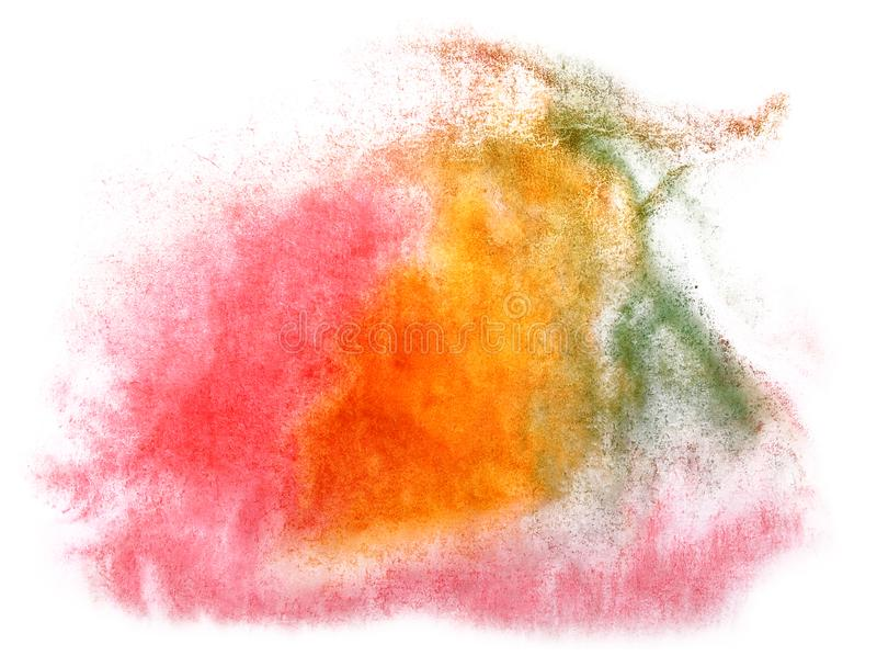 Art watercolor ink paint blob watercolour splash colorful stain. Pink, orange, green isolated on white background texture stock photography